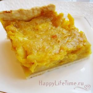 Тыквенный открытый пирог с яблоками