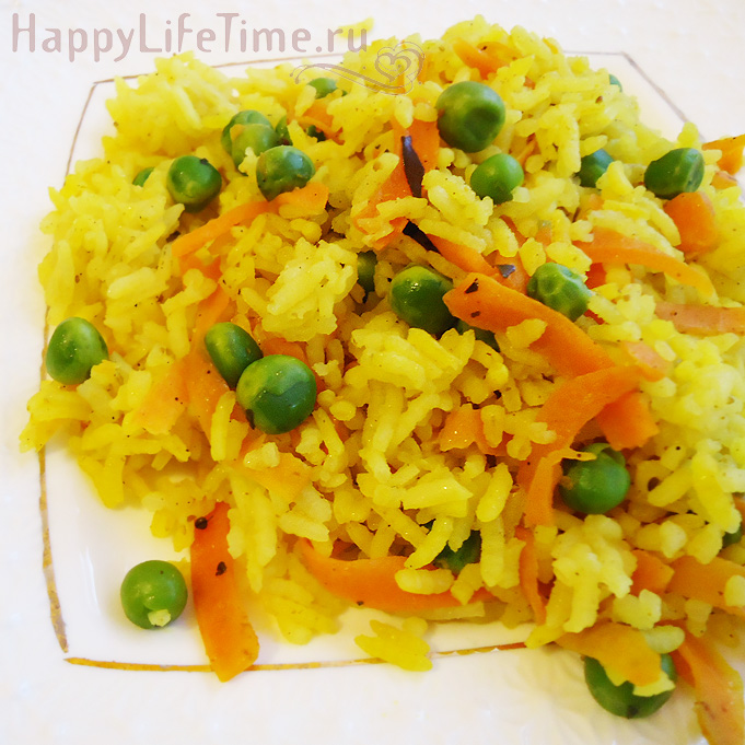 Вкусный рис с горошком