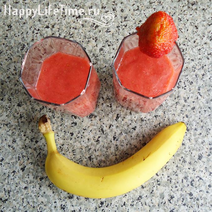 Клубнично-банановый коктейль-мороженое :-)