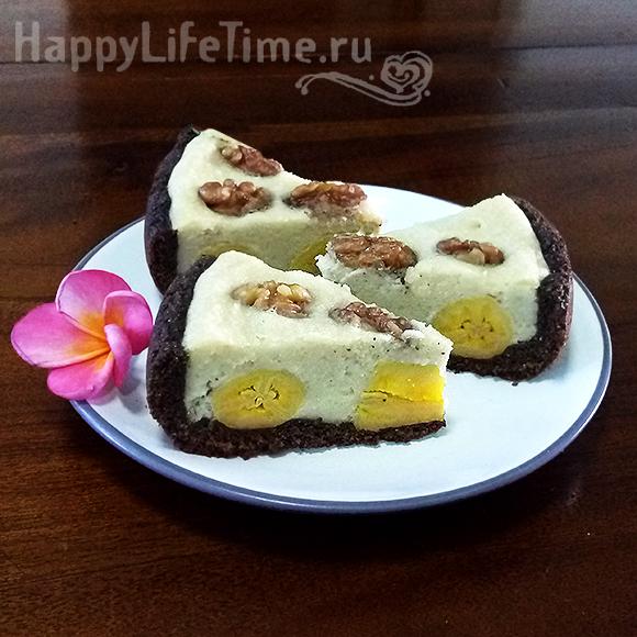Кешью-чизкейк с бананами (веган)