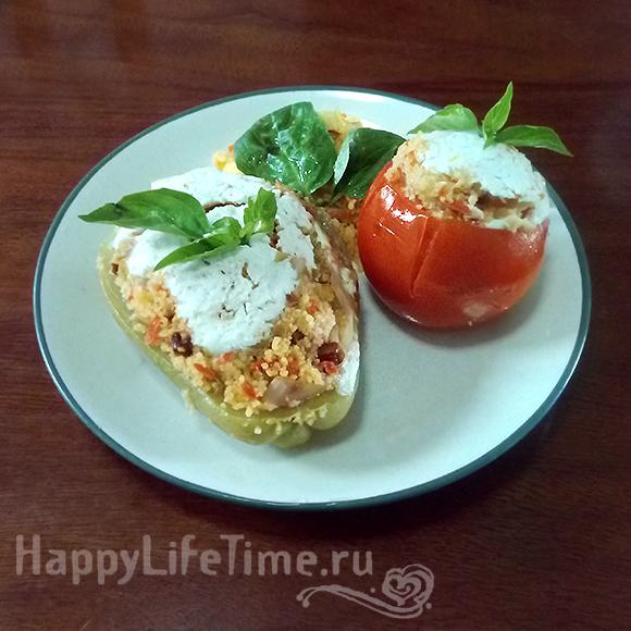 Запеченные перцы и помидоры с кус-кусом