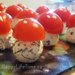 творожные грибочки с зеленью
